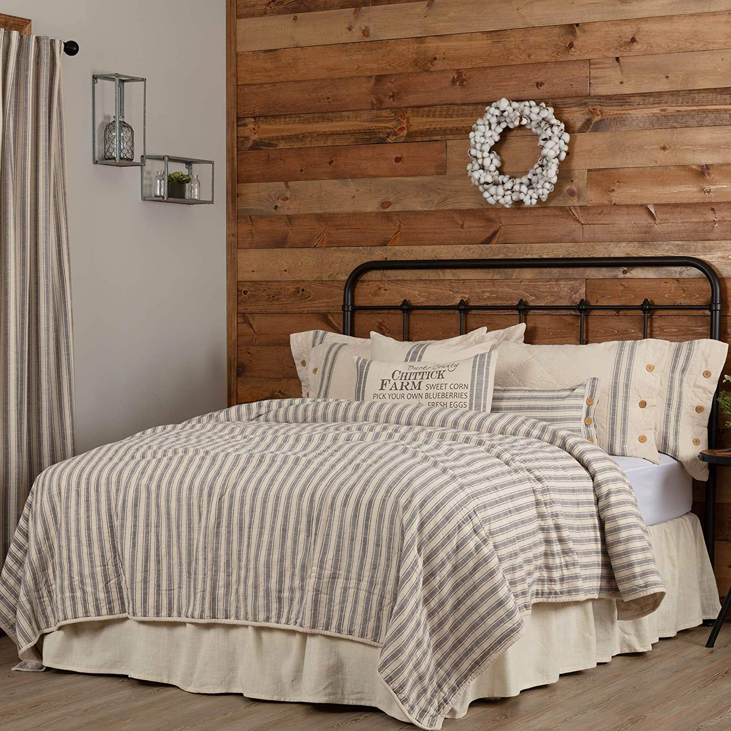 farmhouse-bedding-ticking-stripe